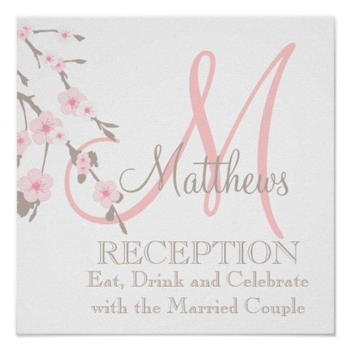 Cherry Blossom Wedding Reception Sign Pink Posters