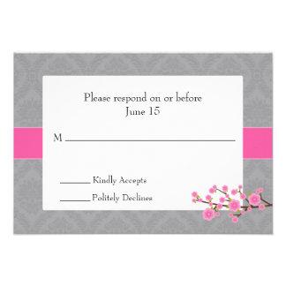 Cherry Blossom Wedding RSVP Card Custom Announcement