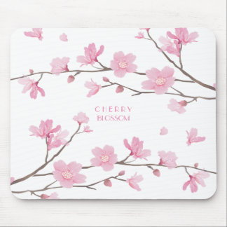 Cherry Blossom - White Background Mouse Mat