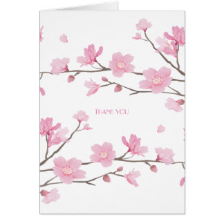 Cherry Blossom - White Background-THANK YOU Card