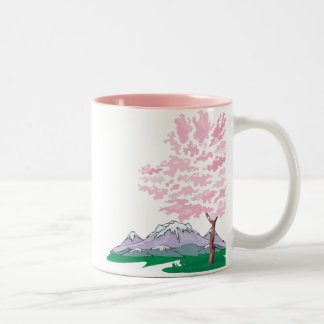 Cherry Blossom with Mountains in Background Coffee Mugs
