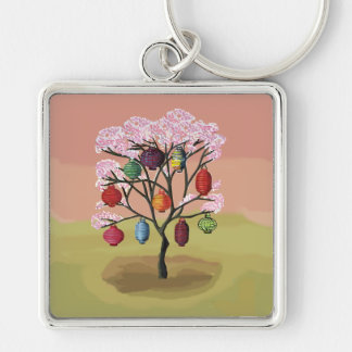 Cherry Blossom with oriental paper lanterns Silver-Colored Square Key Ring
