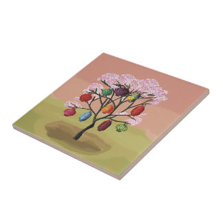 Cherry Blossom with oriental paper lanterns Small Square Tile