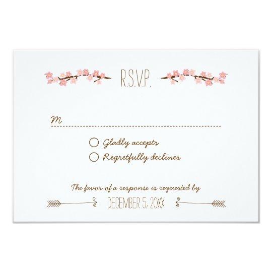 Cherry Blossom Wreath Boho Rustic Wedding Card