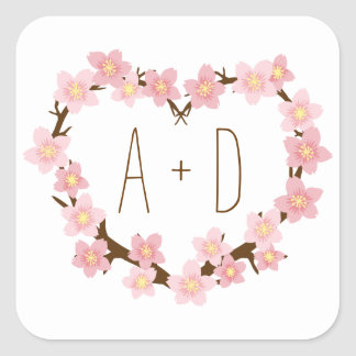 Cherry Blossom Wreath Boho Rustic Wedding Square Sticker