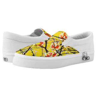 Cherry blossom yellow orange floral design printed shoes