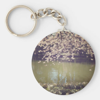 Cherry Blossoms Above A Garden Pond Basic Round Button Key Ring