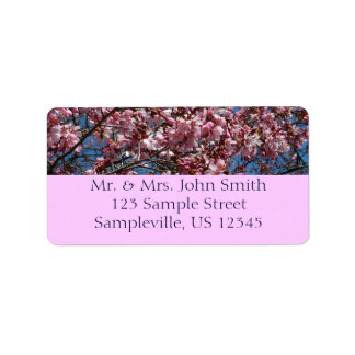 Cherry Blossoms and Blue Sky Spring Floral Address Label