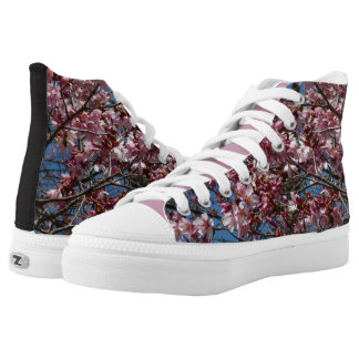 Cherry Blossoms and Blue Sky Spring Floral High Tops