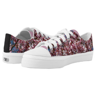 Cherry Blossoms and Blue Sky Spring Floral Low Tops