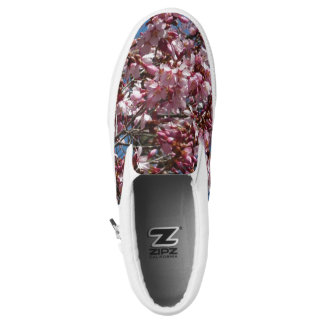 Cherry Blossoms and Blue Sky Spring Floral Slip-On Shoes