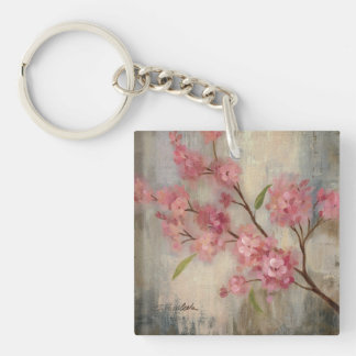 Cherry Blossoms and Branch Double-Sided Square Acrylic Key Ring