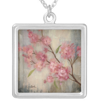 Cherry Blossoms and Branch Silver Plated Necklace