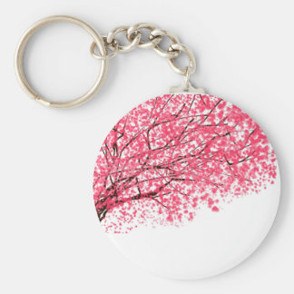 Cherry Blossoms and Branches Basic Round Button Key Ring