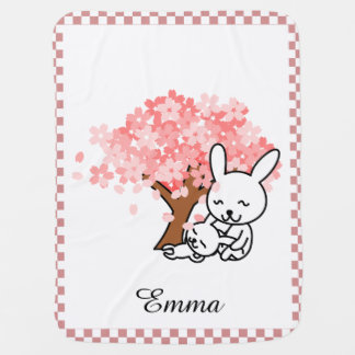 Cherry Blossoms and Bunnies Personalized Buggy Blankets
