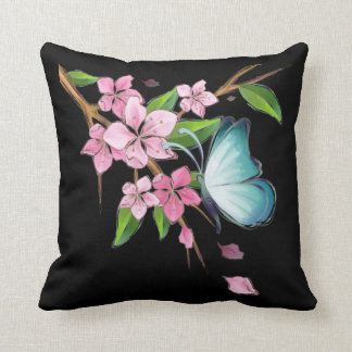 Cherry Blossoms and Butterflies American MoJo Throw Cushion