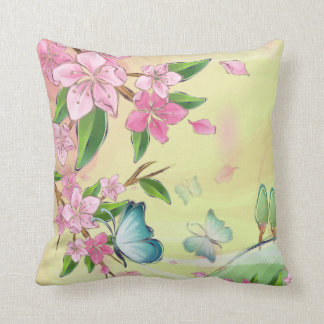 Cherry Blossoms and Butterflies American MoJo Throw Cushions