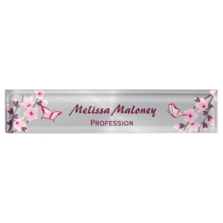 Cherry Blossoms And Butterflies Desk Nameplate