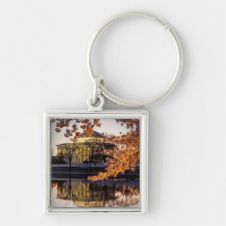 Cherry Blossoms And The Jefferson Memorial 2 Silver-Colored Square Key Ring