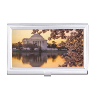 Cherry Blossoms And The Jefferson Memorial Business Card Holders