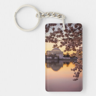 Cherry Blossoms And The Jefferson Memorial Double-Sided Rectangular Acrylic Key Ring