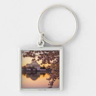 Cherry Blossoms And The Jefferson Memorial Silver-Colored Square Key Ring