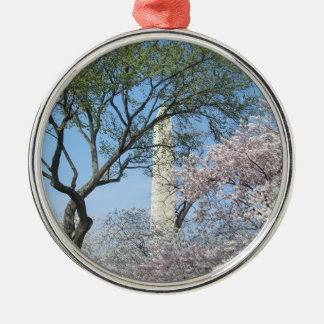 Cherry Blossoms and the Washington Monument in DC Silver-Colored Round Decoration