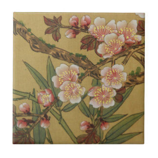 Cherry Blossoms Asian Japanese Art Small Square Tile