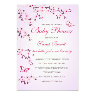 Cherry Blossoms Baby Shower Card