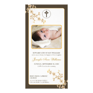 Cherry Blossoms Baptism Announcement (gold) Photo Card