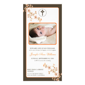 Cherry Blossoms Baptism Announcement (tangerine) Personalized Photo Card
