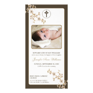 Cherry Blossoms Baptism Announcement (taupe) Customised Photo Card