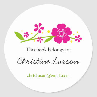 Cherry Blossoms Bookplate Classic Round Sticker