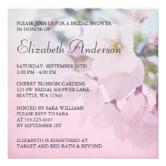 Cherry Blossoms Bridal Shower Personalized Announcements