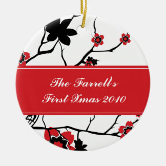 Cherry Blossoms Couples 1st Christmas Christmas Ornament