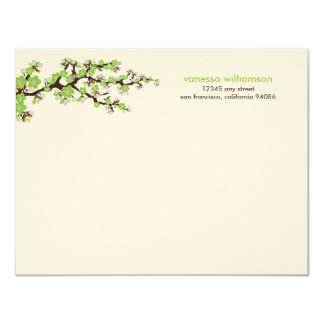 Cherry Blossoms Custom Flat Note Cards (green)