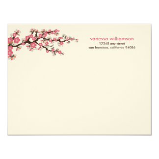 Cherry Blossoms Custom Flat Note Cards (pink)
