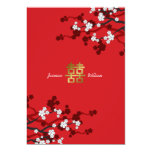 Cherry Blossoms Double Happiness Chinese Wedding 13 Cm X 18 Cm Invitation Card