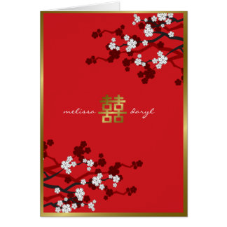 Cherry Blossoms Double Happiness Chinese Wedding Card