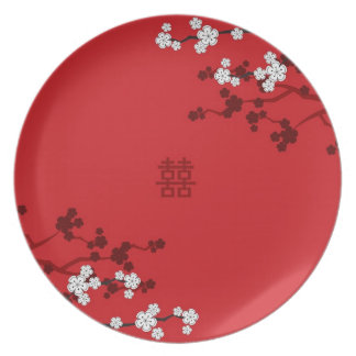 Cherry Blossoms Double Happiness Chinese Wedding Plates