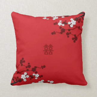 Cherry Blossoms Double Happiness Chinese Wedding Throw Pillow