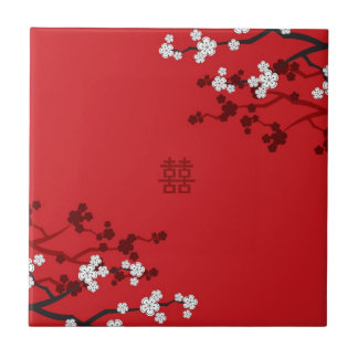 Cherry Blossoms Double Happiness Chinese Wedding Tile