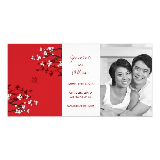 Cherry Blossoms Double Happiness Save The Date Picture Card