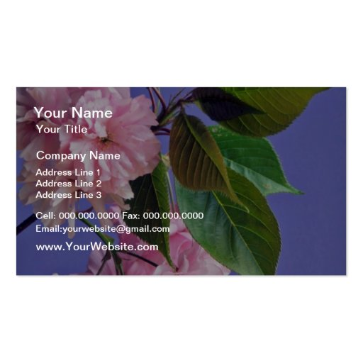 Cherry blossoms  flowers business card