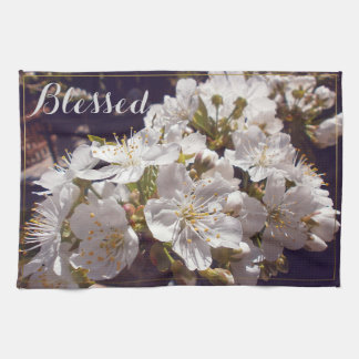 Cherry blossoms. Happy Easter. Tea Towel