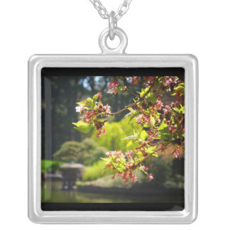 Cherry Blossoms In A Japanese Garden Square Pendant Necklace