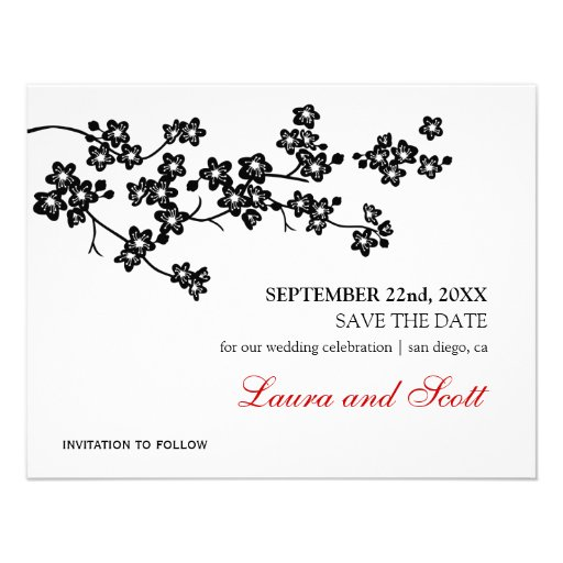 Cherry Blossoms in Black Save The Date Invitation