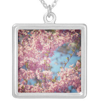 Cherry Blossoms in Full Bloom Square Pendant Necklace
