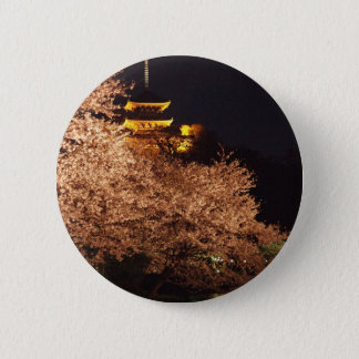 Cherry blossoms in Japan at night 6 Cm Round Badge
