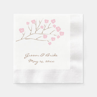 Cherry Blossoms in Pink Wedding Paper Napkins